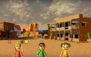 Gabi, Susana, and Midori participating in Popgun Posse in Wii Party
