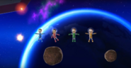 Fumiko, Oscar, and Ursula participating in Moon Landing in Wii Party