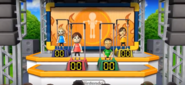 Emily, Daisuke, and Hiromi participating in Chin-Up Champ in Wii Party