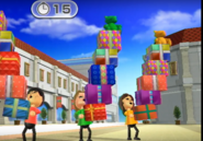 Ren, Ursula, and Fumiko participating in Shifty Gifts in Wii Party