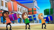 Haru, Elisa and Alisha participating in Shifty Gifts in Wii Party