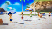 Tyrone, Alisha and Lucia participating in Flag Fracas in Wii party