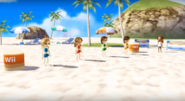 Kathrin, Giovanna, and Hiromi participating in Flag Fracas with Naomi as the referee in Wii Party
