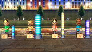 George, Eva, Keiko and Kentaro participating in Lucky Launch in Wii Party