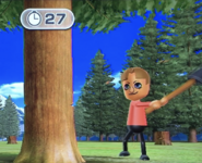 Greg participating in Timber Topple in Wii Party