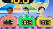 Sakura, Marisa and Takumi participating in Stop Watch in Wii Party