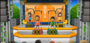 Steph, Shinnosuke, and Misaki participating in Chin-Up Champ in Wii Party
