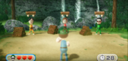 Takumi, Pierre, and Akira participating in Lumber Whacks in Wii Party
