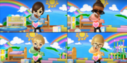Gwen, Julie, and Nelly participating in Cry Babies in Wii Party