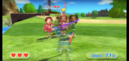 Pablo and Helen both wearing Red Armor in Swordplay Showdown