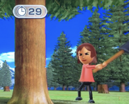Yoko participating in Timber Topple in Wii Party