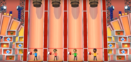 Vincenzo, Abe, and Sota participating in Barrel Daredevil in Wii Party