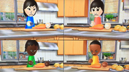 Misaki, Rin, Sandra and Theo participating in Chop Chops in Wii Party