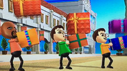 Matt, Asami and Hiromasa participating in Shifty Gifts in Wii Party