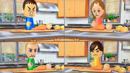 Shinta, Kathrin, Fritz and Hiromi participating in Chop Chops in Wii Party