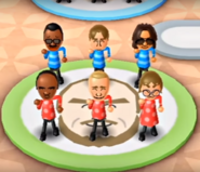 Hiroshi, Abe, Eduardo, Fritz, and Siobhan featured in Swap Meet in Wii Party