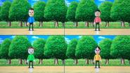 Saburo, Shinnosuke, Midori and Eva participating in Walk-Off in Wii Party