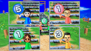 Rin, Shohei, Chika and Saburo participating in Strategy Steps in Wii Party