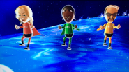 Rachel, Sandra and Jake participating in Space Race in Wii Party