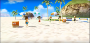 Midori, Rachel, and Keiko participating in Flag Fracas in Wii Party