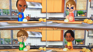 Eduardo, Siobhan, Chris and Maria participating in Chop Chops in Wii Party