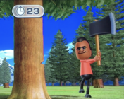 Tommy participating in Timber Topple in Wii Party