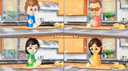 Pierre, Cole, Misaki and Fumiko participating in Chop Chops in Wii Party