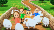 Barbara, Kathrin, Ursula and Takashi participating in Ram Jam in Wii party
