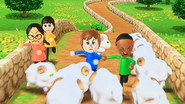 Pierre, Keiko, Theo and Rin participating in Ram Jam in Wii Party