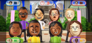 Hiroshi, Keiko, Helen, Jessie, Maria, David, Haru, and Giovanna featured in Smile Snap in Wii Party