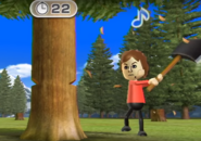 Pierre participating in Timber Topple in Wii Party