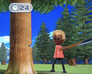 Stephanie participating in Timber Topple in Wii Party