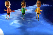 Mia, Chika, and Tommy participating in Space Brawl in Wii Party