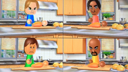 Ursula, George, Steph and Matt participating in Chop Chops in Wii Party