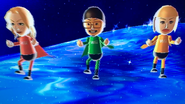 Rachel, Shinnosuke and Slike participating in Space Race in Wii Party