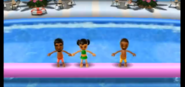 Patrick, Miyu, and James participating in Splash Bash in Wii Party