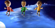 Emily, Daisuke, and Hiromi participating in Space Brawl in Wii Party