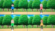 Ren, Rachel, Gabi and Greg participating in Walk-Off in Wii Party