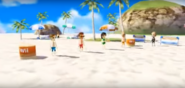 Cole, Misaki, and Fritz participating in Flag Fracas with Silke as the referee in Wii Party