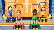 Takumi, Abe, Ai and Tomoko participating in Chin-Up Champ in Wii Party