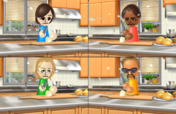 Hayley, Rachel, and Jake participating in Chop Chops in Wii Party