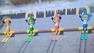 Rin, Misaki, Ren and Fumiko participating in Jumbo Jump in Wii Party