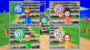Jake, Misaki, Daisuke and Elisa participating in Strategy Steps in Wii Party