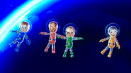 Pierre, Gabriele, Ursula and Misaki participating in Moon Landings in Wii Party