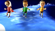 Elisa, Oscar, and Michael participating in Space Brawl in Wii Party