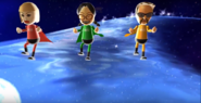 Silke, Keiko, and Jake participating in Space Brawl in Wii Party