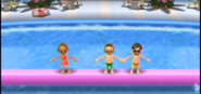Mia, Nick, and Vincenzo participating in Splash Bash in Wii Party