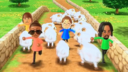 Yoshi, Gwen, Alex and Mike participating in Ram Jam in Wii Party