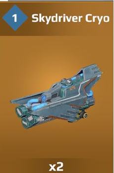 Skydriver has same stats as the Sinister Cryo but if from the current operation pass