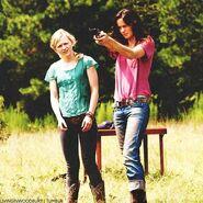 Beth and Lori target practice at farm